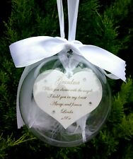 Personalised Bauble Angel Memorial Christmas Wood Hanging Heart Feathers 10cm