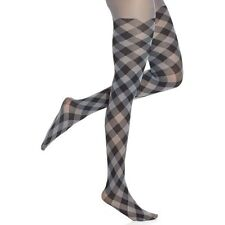 Hue Tights Sz 1 Thunder Grey Multi Plaid Opaque Non-Control Top Tight U4689