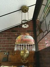 1800's Antique Victorian Hanging Kerosene Parlor Lamp Brass THE ROCHESTER