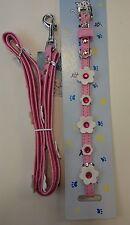 Katzen Halsband mit Leine komplett, rosa verziert mit Blumen.