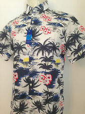 Mens Stylish Classic Tropical Palm tree Sunset Print Short Sleeve shirt Size L