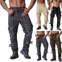 Men Punk Rave Black Gothic Harem Shorts Pants Steampunk Chain Punk Rock Trousers