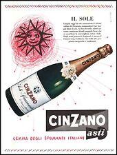 PUBBLICITA' 1957 SPUMANTE CINZANO ASTI VINO BAR DRINK WHINE BOTTIGLIA  NICO EDEL
