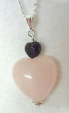 22mm. Rose Quartz + Amethyst hearts - 18'' chain