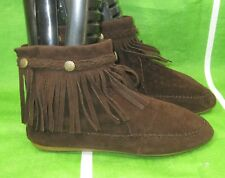 ladies brown Frill Flat Round Toe  Sexy Ankle Boots Size 7
