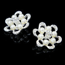 2 Pcs 32mm Silver Pearl Clear Rhinestone Button Sewing Craft  DIY Promotion