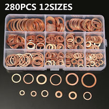 280x Oil Drain Plug Crush Ring Washers Copper Flat Gasket Seal Assorted 12 Sizes