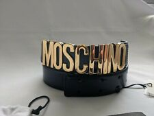 Moschino Couture Jeremy Scott SHINY BLACK LEATHER BELT WITH GOLD LETTERING LOGO