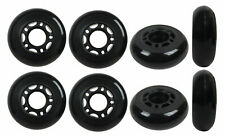 Inline Skate Wheels 64mm 82A Black Outdoor Roller Hockey Rollerblade 8 Pack