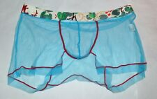 "Men's see through mesh boxer trunks underwear Uk  35"" 37"" blue"