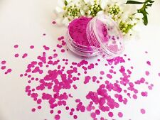 Nail Art Chunky *FanDango* Shiny Hot Pink Hexagon Shape Glitter Spangle Mix Pot