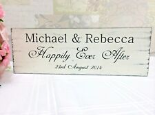 Happily Ever After Sign Personalised Rustic Shabby Wooden Vintage Wedding Gift