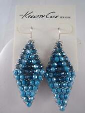 Kenneth Cole silver tone~blue beaded drop earrings, NWT