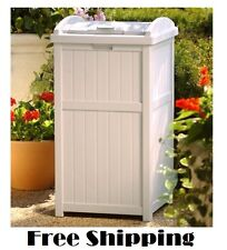 Trash Hide Away Yard Waste Container Large Can Garbage Bin Garden Solid Lid