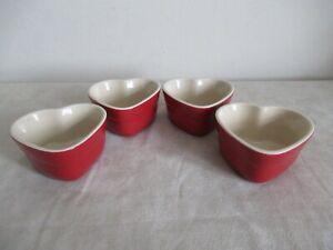 LE CREUSET ~ SET OF 4  SMALL RED HEART RAMEKINS