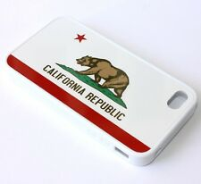 For iPHONE 4 4S - HARD RUBBER GUMMY GEL SKIN CASE WHITE CALIFORNIA FLAG CA BEAR