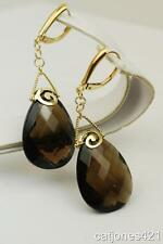 14K YELLOW GOLD LARGE QUARTZ 30.52 CARATS LEVERBACK EARRINGS