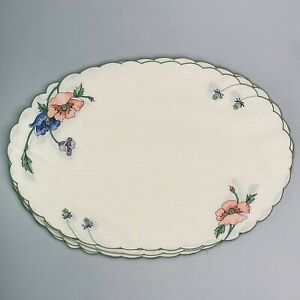 """8 Villeroy & Boch Amapola Placemats 18 3/4"""" x 12 1/2"""" Oval Scalloped Poppies"""
