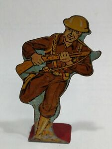 Vintage 1930s MAR - MARX Lithograph Tin Soldier Infantry Private Charging #15