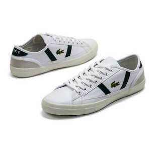 Men Lacoste Sideline White Leather Shoes Casual Lace Up Sneakers NEW