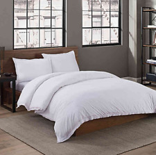 Garment Washed Solid Twin Duvet Cover Only in White - Missing Sham