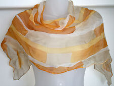 """Gorgeous Vintage Yellow & Copper Long Poly Scarf, Hand Painted in Japan, 44"""""""