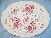 J & G Meakin Tudor Roses Platter Pink Transferware Serving Vintage Porcelain VG