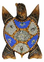 "10"" HAND CARVED WOOD SAND SEA TURTLE WALL ART NAUTICAL TROPICAL ISLAND SCULPTURE"