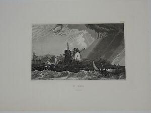 Gravure sur acier XIXème - Saint-Malo - Bretagne