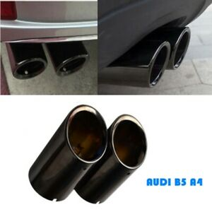 Audi A4 B8 Q5 Black Stainless Steel Exhaust Tail Muffler Tip Pipe 75mm
