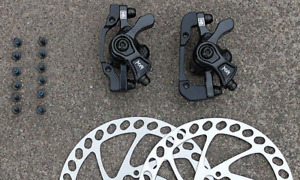 New Hayes MX4 Mechanical Disc Brake Set Front Rear Black 160mm Rotor & Adapters