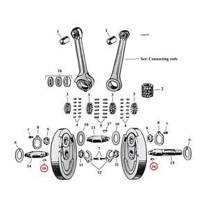 MCS HARLEY-DAVIDSON CRANKPIN ROLLER SET FITS 1929-73 FORTY-FIVE MOTORS BC38030 T