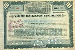 George H. Earle, Jr autograph signature on 1908 York Railways stock certificate