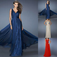 Women Ladies Formal Party Sleeveless Backless Elegant V-neck Long Dress Chiffon
