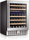 "24"" Wine Cooler Beverage Refrigerator Beer Mini Fridge 46 Bottles Dual Zone"