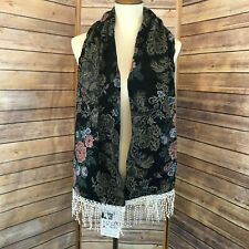 Vintage Lacy Afternoon Shell Kepler Black Floral Tapestry Shawl Lace Fringe 64""