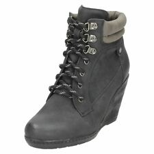 Damen f50324s Schnürer Keilabsatz Stiefel schwarz, braun oder Honig von Spot on