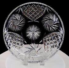 """KUSAK BOHEMIAN CZECH CUT CRYSTAL BERLIN PINWHEEL 10 7/8"""" SERVING PLATE"""