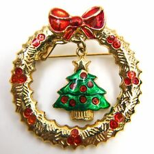 Gold Tone Enameled Red & Green Wreath and Christmas Tree Christmas Pin - 1.5""