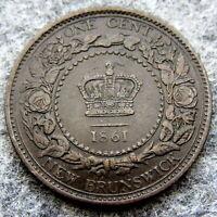 NEW BRUNSWICK CANADA QUEEN VICTORIA 1861 ONE CENT