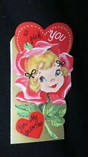 Vintage Darling Rose girl Valentine Card c. 1950s unused