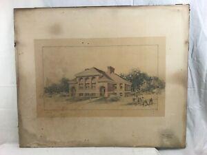 Orig. c1910 Hand Colored Pencil Drawing Salem, MA Edwin B. Balcomb Architect