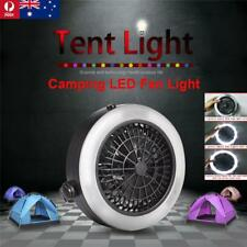 Portable USB Outdoor Camping Rechargeable LED Fan Light Hanging Tent Lamp AU