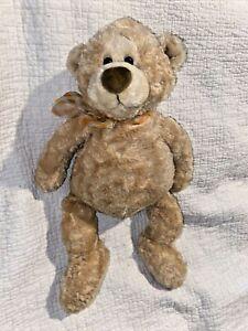"""Gund Manni Tan Teddy Bear Plush Plaid Bow 15016 16"""" Floppy Swirl Fur"""