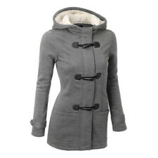Plus Size Double-breasted Winter  Women Wool Jacket Hoody Parka Horn Button Ce0