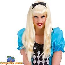 BLONDE STORYBOOK ALICE IN WONDERLAND WIG womens ladies fancy dress costume