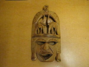 Unknown Vintage Hand Carved Wooden African Tribal Mask Wall Art