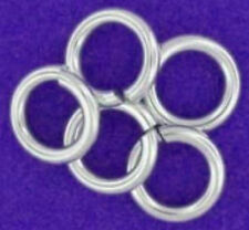 5 STRONG HEAVY STERLING SILVER OPEN JUMP RINGS, 8 MM, 1.1 MM WIRE