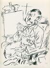 George Grosz SELF PORTRAIT smoking pipe little dog on lap 1939 vintage WPA print
