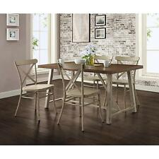 5 Piece Rustic Dining Room Set Home Living Kitchen Furniture White Chairs